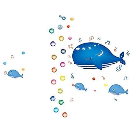 eDealMax ballena azul Patrón Boy dormitorio decoración del arte desprendible de la pared de la etiqueta