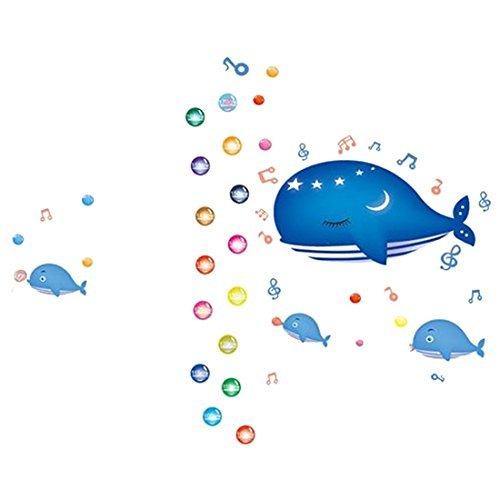 eDealMax ballena azul Patrón Boy dormitorio decoración del arte desprendible de la pared de la etiqueta engomada - - Amazon.com
