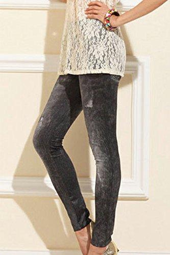 Grey Completos Jeans ajustados leggins ven forrados Slim Mujer pantalones gqwnBpWgO