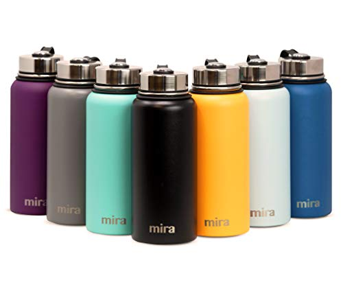 MIRA 40 Oz Stainless Steel Vacuum Insulated Wide Mouth Water Bottle   Thermos Keeps Cold for 24 hours, Hot for 12 hours   Double Walled Powder Coated Travel Flask   Black