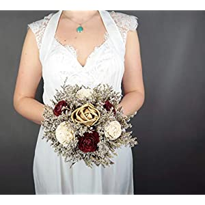 Small Rustic Wedding Bridesmaids Bouquets Made of Ivory and Gold Sola Flowers Burgundy Cedar Roses Dried Limonium Burlap Lace and Pearl Pins 63