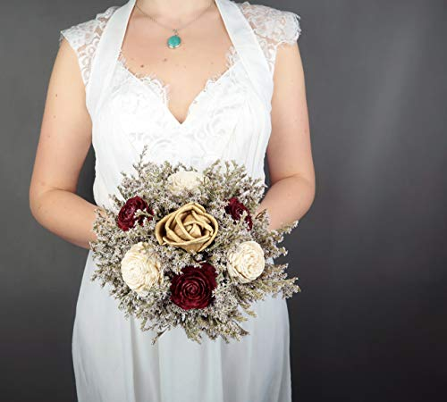 (Small Rustic Wedding Bridesmaids Bouquets Made of Ivory and Gold Sola Flowers Burgundy Cedar Roses Dried Limonium Burlap Lace and Pearl Pins)