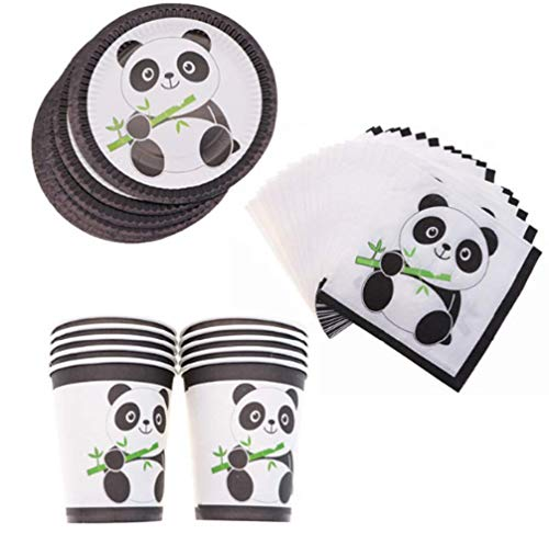 Hot Panda Party Supplies Disposable Tableware Cup Plate Napkins Birthday Wedding for Baby Shower Decoration ()