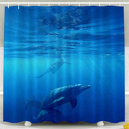 EMMTEEY Xmas Shower Curtain, 78x72Inch Bath Shower Curtain with Hooks Waterproof Design for Bathroom DécorWild Dolphins Swimming in Blue Ocean in Zanzibar (Best Diving In Zanzibar)