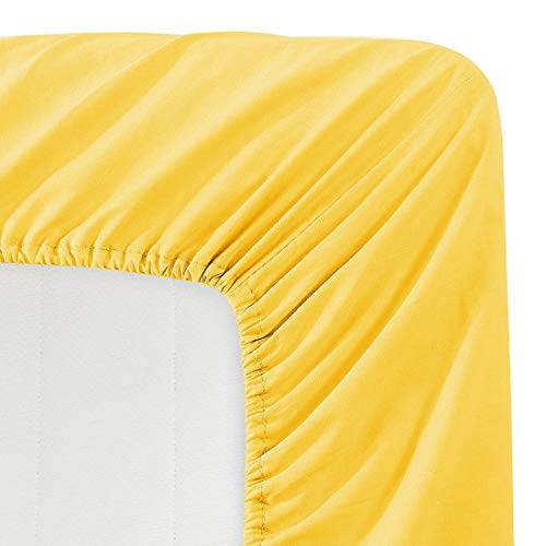 BASIC CHOICE Solid Color Microfiber Queen Deep Pocket Fitted Sheet, Yellow