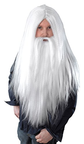 Bristol Novelty BW660 Wizard Wig and Long Beard, White, One Size -