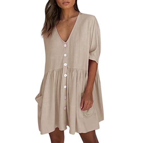 Solid Loose V Neck Dress Women Casual Half Sleeve Button Pocket Mini Dress