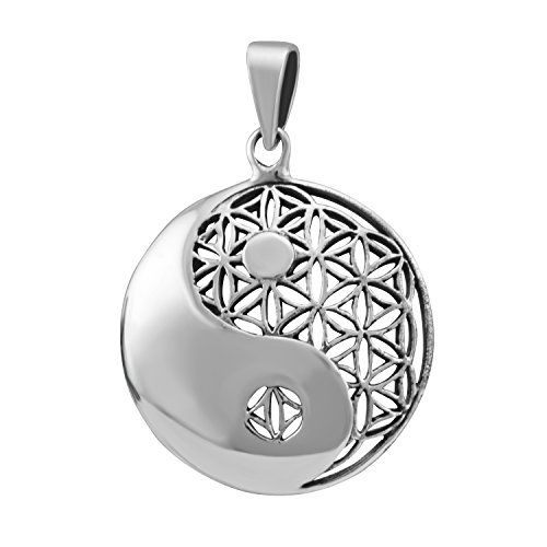 - WithLoveSilver Sterling Silver 925 Charm Celtic Round Yin Yang Cut Out Flower of Life Pendant