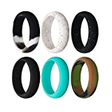Cheap Silicone Wedding Ring For Women By Rmylove, 6 Pack – Designed for Comfort, Fitness, Exercise, 5.5 mm Wide (Camo,Turquoise ,Black,Glitter Black,White Sparkle,BlackWhite, 5(15.5mm))
