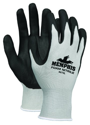 MCR Safety 9673S Memphis Foam Seamless Nylon Knitted Gloves with Black Foam Nitrile Dipped Palm and Fingers, Black/White, Small, 1-Pair