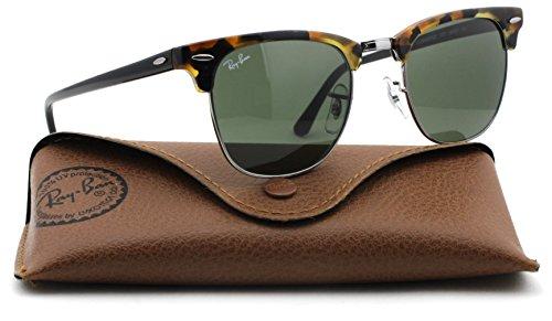 Ray-Ban RB3016 Clubmaster Classic Unisex Sunglasses (Black Havana Frame/Green Lens 1157, ()