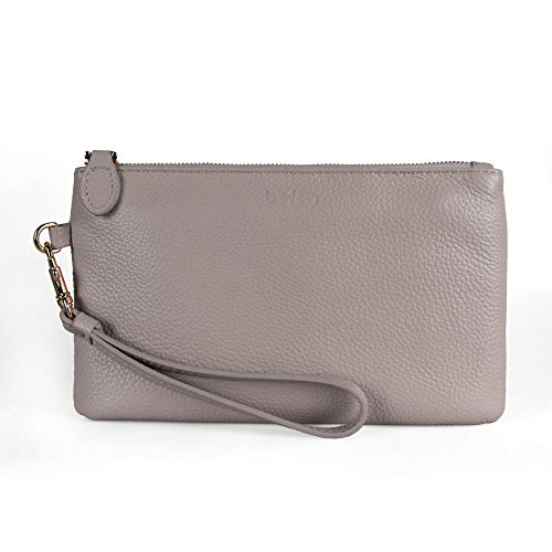 Befen Women Genuine Leather Clutch Wallet, Smartphone Wristlet Purse - Fit iPhone 8 Plus (Light Beige Pink)