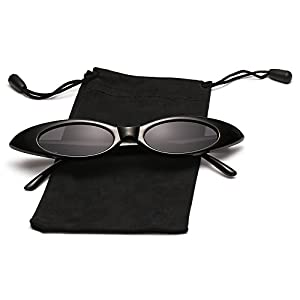 LOOKEYE Small Cateye Sunglasses Oval Clout Goggles Vintage Mod Chic Candy Shades for Women and Man, Black Frame and Gray Lens