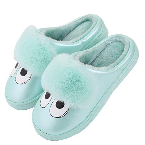 Dibujos animados cuero de la PU familia zapatillas de casa-Unisexo invierno calentar felpa zapatos botas Verde