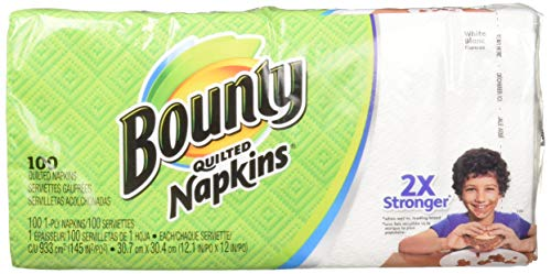 Bounty Quilted Napkins, White, 100 Count (Pack of 3)