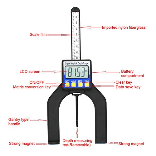 Grizack LCD Digital Height Depth Gauge Slide Caliper Vernier Ruler 0-85mm Measuring Tool