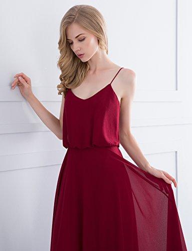 Dress Formal Bridesmaid Chiffon Long Straps Women's Evening Blush Gardenwed Flowy Spaghetti Gown wxX4YTqF