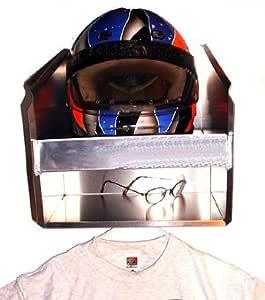 Pit Posse Deluxe Dual Helmet Bay Shelf Holder Aluminum Enclosed Race Trailer Shop Garage Storage Organizer Silver