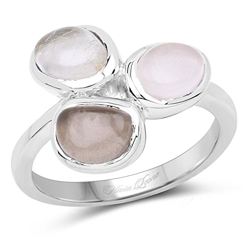 2.03 Carat Genuine Rose Quartz, Smoky Quartz and Golden Rutile .925 Sterling Silver Ring