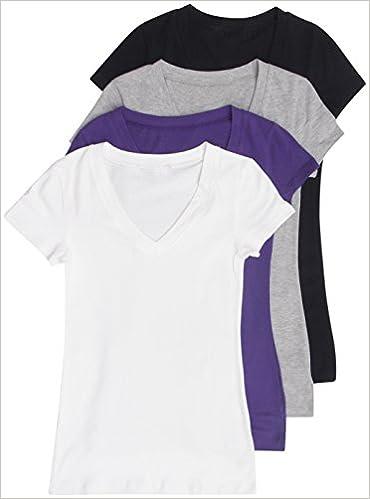 7f2f1c1c4 4 Pack Zenana Basic Plus Size V-Neck Short Sleeve Cotton T-Shirts for Women  1X Black, White, H Gray, Purple: 0042768476048: Amazon.com: Books