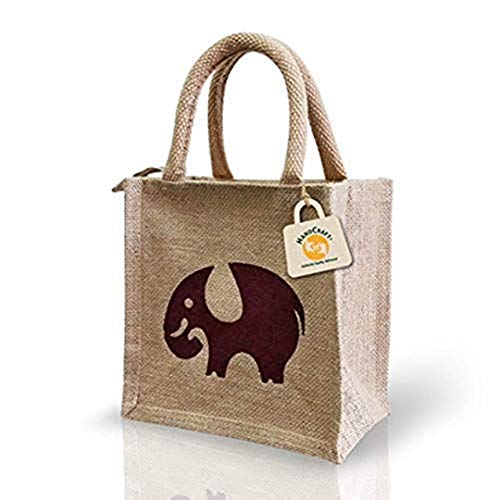 HandCraft Unisex Jute Lunch Bag |Tote Bags with Zip  Small Size