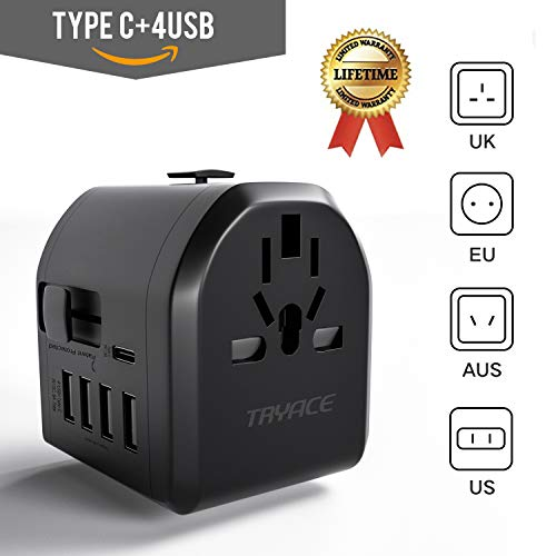 - TryAce Universal Travel Adapter, All-in-one International Power Adapter with 4 USB & Type C, European Adapter Travel Power Adapter Wall Charger UK, EU, AU, Asia Covers 190+Countries (Upgraded)