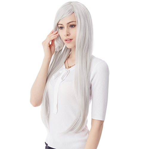 32 Inches Long Straight Silver Hair Wigs for Women Synthetic (Cheap Color Contacts Halloween)