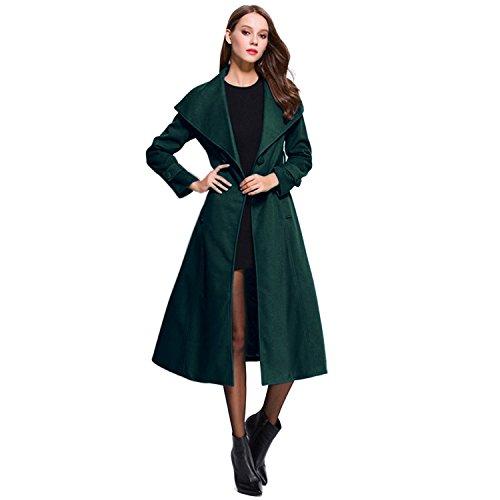 longues Trench femmes foncé Sumchimamzuk pour de vert manches à base coat Y8d7RqB