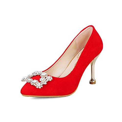PINGXIANNV Stöckelschuhe Der Hohen Absätze des Mittleren Absatzes Die Die Die Rote Schuhe Der Braut Heiraten 7135ac