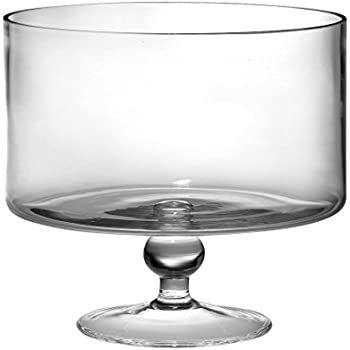 "Barski European Beautiful Hand Made Glass Large Trifle Bowl, 9.5""D , 170 oz (over 5 quarts) Clear"
