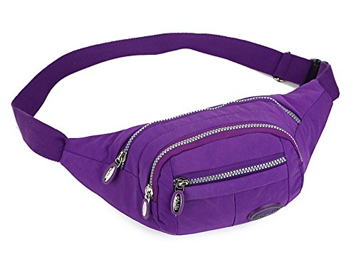 Water Resistant Fanny Pack Fashion Multi-functional With Multiple Zippered Compartments Tour Lumbar Pack Sports Bag Waist Pack | Stylish Unisex Design (Model 2022-Purple) (Tour Fanny Pack)