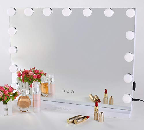 MoonMoon Hollywood Vanity Mirror with Lights,Professional Makeup Mirror & Lighted Vanity Makeup mirror with Smart Touch Adjustable LED Lights (white) - Lighted Vanity Mirror
