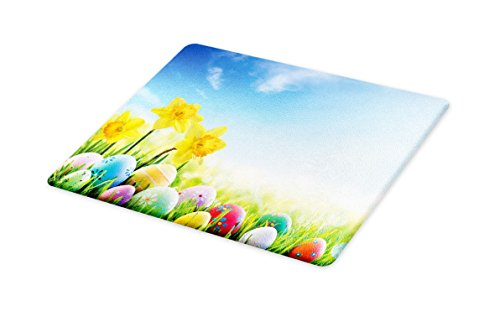 Lunarable Easter Cutting Board, Scenic Sunny Meadow with Daffodils and Fresh Green Grass Clear April Sky Holiday, Decorative Tempered Glass Cutting and Serving Board, Large Size, Yellow Blue