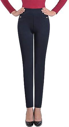 Zevonda Pantalones Talla Grande Para Mujer Elastico Cintura Alta Casuales Leggings De Color Solido Para Primavera Otono Invierno Amazon Es Ropa Y Accesorios