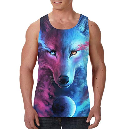 - FANTASY SPACE Active Athletic Sleeveless Vest T-Shirts for Youth & Adult Men Boys Sweatproof Activewear Shirt Tank Top Vest Comfort Soft Regular Fit Shirts -Pink and Blue Cool Wolf Moon Art