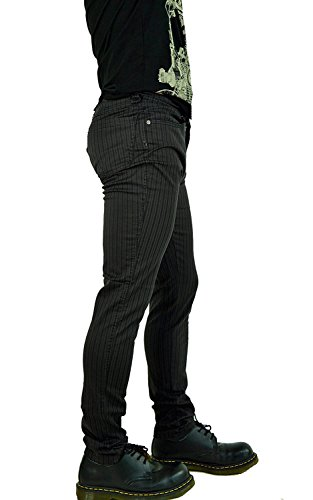 Tripp NYC Gothic Punk Rocker Exploited Pinstriped Black Gray Skinny Jeans (31) (Denim Pinstriped Pants)