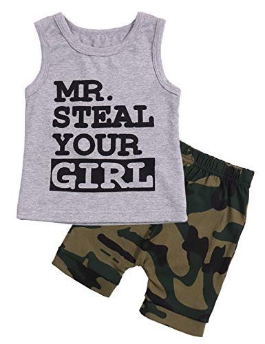 Toddler Baby Infant 6 9 12 18 24 Months Boy Clothes Mr Steal Your Girl Vest +Camouflage Shorts Summer Outfit Set 6-12 Months -