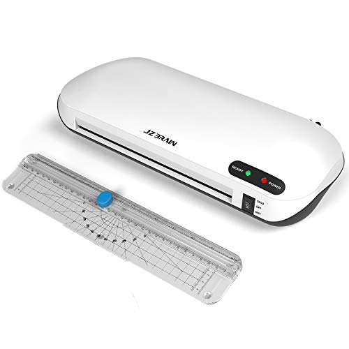 JZBRAIN Thermal Laminator Machine with Trimmer, Two Minutes Fast Warm-Up, Rapid High Efficient Laminating, Hot & Cold Laminating Machine, 9'' Max Width (White)