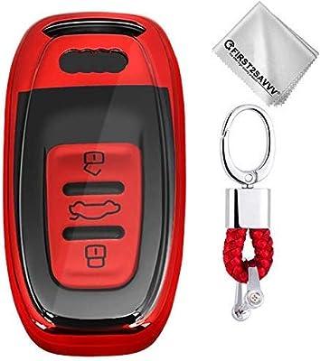 Silicona Carcasa Protectora Suave - Case de Mando de Auto Plata Funda para Llave Smart Key para Coche 3 Button Audi A4 A6 A5 A7 A8 Q5 Q7 S5 S6 S7 de