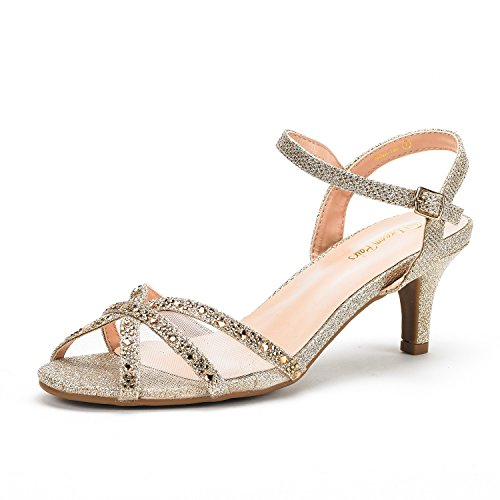 DREAM PAIRS Women's Nina-150 Gold Low Heel Pump Sandals - 6 M US