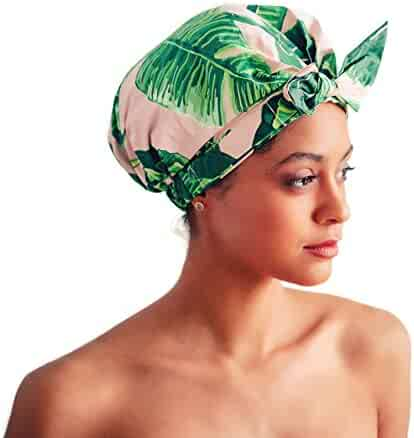 Kitsch Luxury Shower Cap for Women - Waterproof and Mold Resistant, Reusable Shower Caps (Palm Leaves)