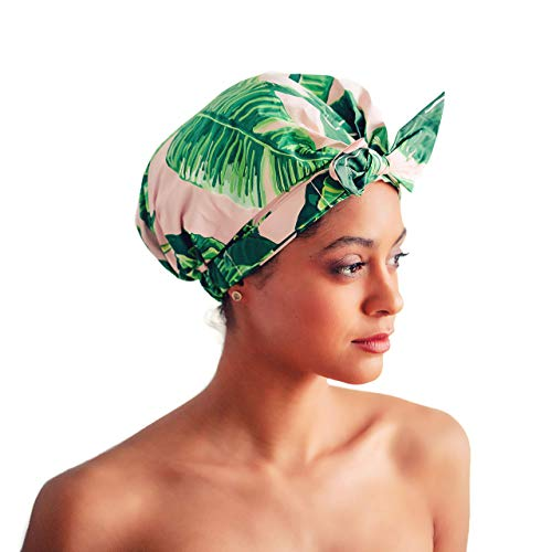 Luxury Shower Cap for Women - Most Comfortable Fit, Waterproof and Mold Resistant, Reusable Shower Caps by Kitsch (Palm Leaves)