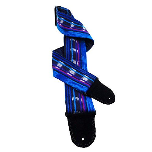 Blue Turquoise Purple Mexican Blanket Guitar Strap Artisan Handmade Imported Loom Woven