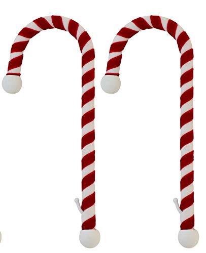 - Haute Decor Candy Cane Stocking Holder, (Velvet Material Version) 2-Pack, Classic Red & White