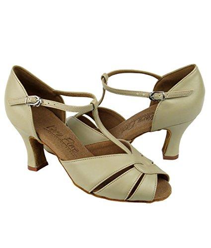 Mycket Fin Balsal Latin Tango Salsa Dansskor För Kvinnor C6006 2,5 Tums Klack + Vikbar Pensel Bunt Beige Läder