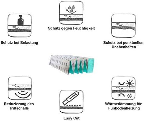 Trittschalld/ämmung 3mm 5m/² D/ämmunterlage Dampfsperre Heizfolie-Unterlagen
