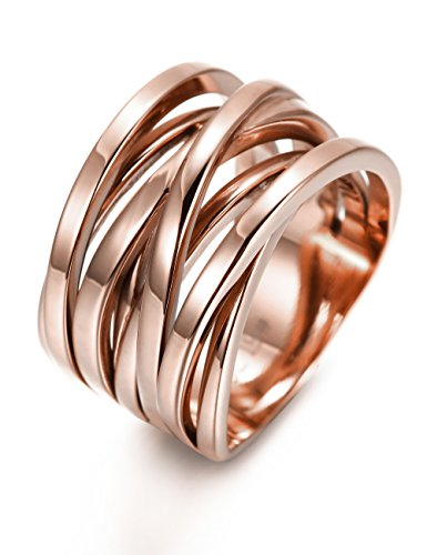 - CIUNOFOR 13.7MM Cross Ring for Women Statement Engagement Ring Rose Gold Sliver Plated Enhancers Ring