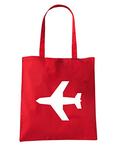 T-Shirtshock - Bolsa para la compra FUN0522 aircraft clipart diecut decal 27 59044 Rojo