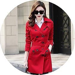 Spring Autumn Women S Korean Windbreaker Female Long Section Chic Trench Coats Red Xxxl