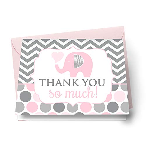 Pink Elephant Thank You Cards with Envelopes for Girls Baby Shower Set of 20